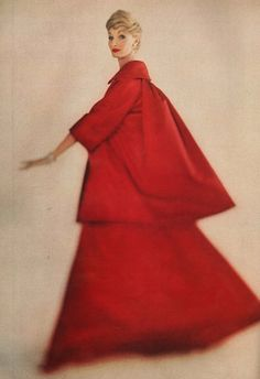 Fifties model Evelyn Tripp in a triangular red gown #vintage #retro
