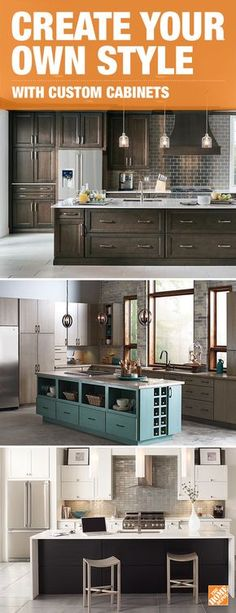 Get inspired for your next kitchen renovation with on-trend and modern styles. Two-toned cabinetry is perfect for any look and brings character to your space. Click to learn more about this look and explore custom options at The Home Depot.