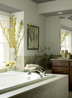 Benjamin Moore Paint Colors - Green Bathroom Ideas - Spa-Inspired Sanctuary - Paint Color Schemes . . . . . Try a soothing blue-green to create a spa-like ambience in your bathroom. . . . . . . Walls - Misted Green (2138-50); Ceiling - Chelsea Gray (HC-168); Trim - Yellow Freeze (2020-70).