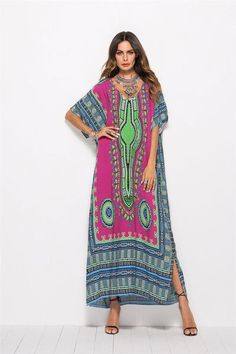 Find AUDATE Women's V Neck Ethnic Print Caftan Maxi Dress Plus Size Casual Swimsuit Cover Up online. Shop the latest collection of AUDATE Women's V Neck Ethnic Print Caftan Maxi Dress Plus Size Casual Swimsuit Cover Up from the popular stores - all in one Maxi Robes, Style Casual, Plus Size Maxi Dresses, Retro Dress, Bikini, Women's Fashion Dresses, Vintage Dresses, Printer, Boho