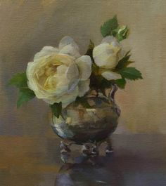 white rose, metal pot -- Claire Austin in an Aesthetic Vase by Pat Kelly Oil ~ 9 x 8 Pat Kelly, Claire Austin, Metal Vase, White Roses, Watercolor Flowers, Graphic Art, Art Photography, Creative, Artwork