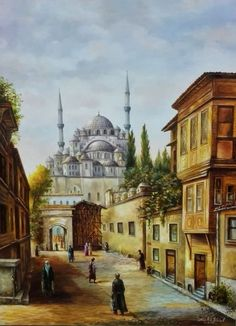 Istanbul, the former Tsar Grad, former Jerusalem, the temple of Solomon-Hagia Sophia Wisdom of God Istanbul, Watercolor Painting Techniques, Watercolor Paintings, Watercolours, Baroque Painting, Arabian Art, Oil Painting Pictures, Building Sketch, Islamic Paintings