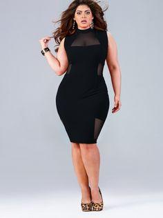 """Marla"" Mesh Insert Dress - Black - What's New - Monif C. Plus Size, curves, voluptuous, beauty boost, inspiration. Curvy Girl Fashion, Look Fashion, Plus Size Fashion, Womens Fashion, Fashion Trends, Dress Fashion, High Fashion, Winter Fashion, Plus Size Club Dresses"
