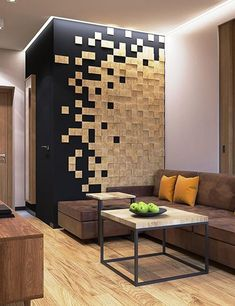 Modern Wall Decoration Patterns Created with Pixel Techniques and Wood Mosaic - wood design Home Room Design, Home Interior Design, Living Room Designs, Interior Decorating, Hallway Decorating, Wood Wall Design, Wall Wood, Wall Decor Design, Wood Mosaic
