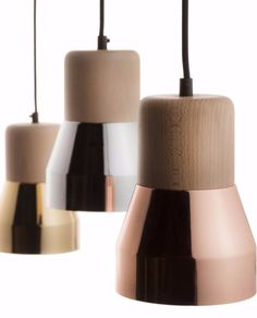 STEEL WOOD LAMP 130 LUXE Direct light beech and metal pendant lamp by @specimened