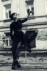 Oscar De La Renta Blouse, Zum Zum (Vintage) Dress, Jeffrey Campbell Boots - Dark - Jane Zubova