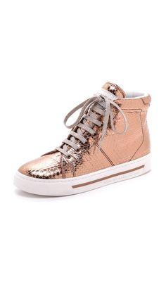 Marc by Marc Jacobs Metallic High Top Sneakers - Newarr. Casual Sneakers, Sneakers Fashion, High Top Sneakers, Shoes Sneakers, Golden Sneakers, Play Shoes, Skull Fashion, Emo Fashion, Cute Nikes