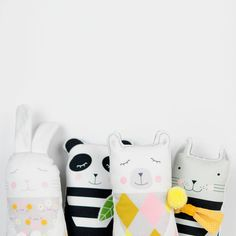 white bunny, striped black and white panda, polar bear with pom pom and grey kitten with yellow bow tie, for kids play or nursery decor - by PinkNounou
