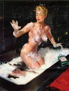 RETRO PINUP QUALITY CANVAS PRINT A4 Poster Gil Elvgren Bathing soap fail in Art | eBay #Elvgren #pinups