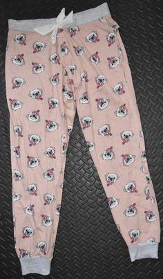 4315dd7dac PRIMARK Pug Dog PJ Bottoms Drawstring Ribbon Peach Grey UK Sizes 6 - 20 NEW