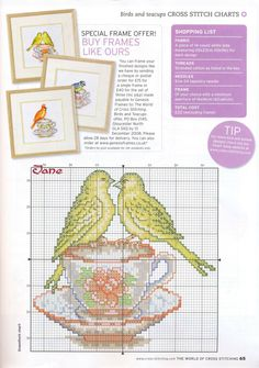 Birds on a teacup free cross stitch pattern - colour key pinned separately