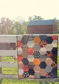 Decorate for the scariest holiday of the year with this Halloween Hexagon Quilt.