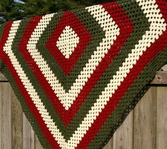 Crochet Christmas Afghan Blanket Granny Square in Red, Green & Cream.