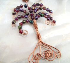 Copper Wire Crystal Autumn Acer Tree Pendant Necklace £22.50