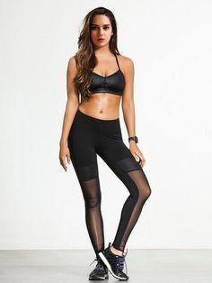 f039de3889b Women's Designer Sports Fitness Yoga Running Gym Mesh Detail Leggings Size  M in Sporting Goods,