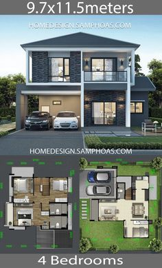 Architecture House Design House design Plans with 4 bedrooms - Home Ideassearch Two Story House Design, 2 Storey House Design, Modern Small House Design, Bungalow House Design, House Front Design, Cool House Designs, Duplex House Plans, House Layout Plans, Dream House Plans