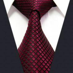 Massief gecontroleerd bordeaux karmozijnrood rood zwart heren stropdassen 100 % zijden jacquard geweven zijde stropdassen voor mannen merk mannen bruiloft mannen stropdas