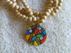Abstract+Mosaic+Hand+Painted+Wooden+Necklace+by+vestalella+on+Etsy,+$25.00