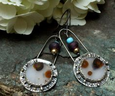 Silver Montana Agate Earrings With African Trade, Lamp Work and Gold Fill Beads. $53.06, via Etsy.