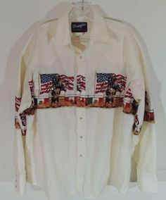 Mens-Wrangler-Western-Shirt-XL-American-USA-Flag-Rodeo-Cowboy-Bull-Pearl-Snap