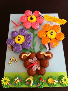 Flower Pot and Garden Bug Cupcake Cake for a Birthday Party