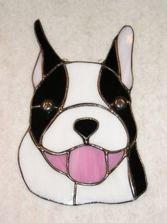 Boston Terrier Stained Glass Sun Catcher
