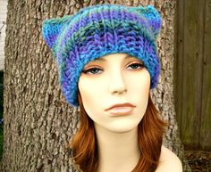 Hand Knit Hat Womens Hat  Cat Beanie Hat in Ocean by pixiebell,