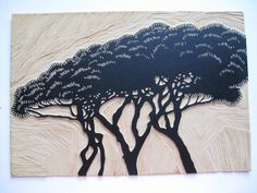 RELIEF PRINT Umbrella Pines Linocut Print by magprint on Etsy