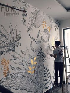 Wall Painting Decor, Mural Wall Art, Diy Wall Art, Fabric Painting, Wall Decor, Wall Drawing, Paint Designs, Diy Home Decor, Interiors