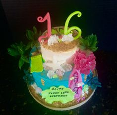 Hawaiian themed Happy Birthday Cake