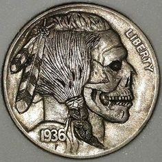 Jay DeBoer Hobo Nickel - 1936 Indian Skull (#102) Indian Skull, Italy Pictures, Hobo Nickel, Art Forms, Cover Art, Sculpture Art, Jay, Coins, Arms