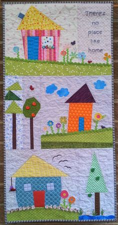 I have spent the majority of my sewing time this week making a wall hanging for a friend's housewarming. House Quilt Patterns, House Quilt Block, House Quilts, Quilt Blocks, Scrappy Quilts, Mini Quilts, Baby Quilts, Homemade Quilts, Quilted Wall Hangings