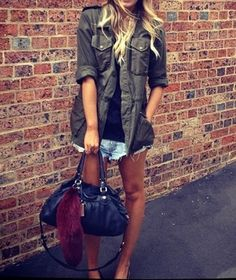 military jacket  amp  cut offs Glam Rock, Military Jackets, Fashion  Lookbook, Elle a6b77ce47d0e