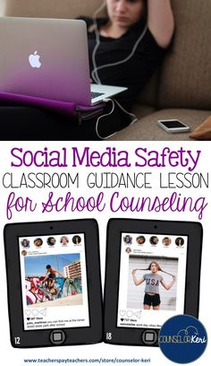 social media safety classroom guidance lesson for school counseling: students evaluate 30 social media scenarios for safety and discuss their ideas in an interactive scoot activity Elementary School Counseling, School Counselor, Elementary Schools, Group Counseling, Social Media Safety, Cyber Safety, Importance Of Time Management, School Safety, Guidance Lessons
