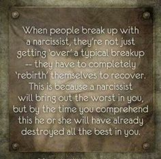 This is so incredibly true! It's not you! A recovery from narcissistic sociopath relationship abuse. I had to learn who I was all over again...and it's still a struggle some days. They take the best of you. You will NOT get the best of me anymore.