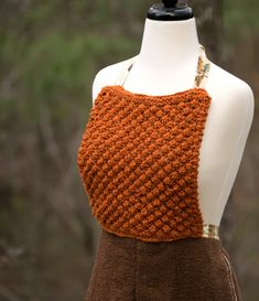 Reversible Apron with Pockets in Burnt Orange & Brown - Knit Bodice and Long Towel Pinafore with Ties - Hostess, Mother or Housewarming Gift Orange Brown, Burnt Orange, Handmade House, Apron Pockets, Long Ties, Wool Yarn, Hand Knitting, Bodice, Towel