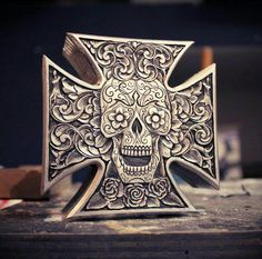 Badass iron cross air cleaner, day of the dead