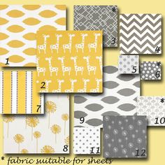 Design Your Own Custom Baby Crib Bedding - Giselle Yellow and Gray by Premier Prints. $225.00, via Etsy.