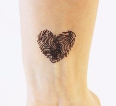 Other – Temporary Tattoo. Heart with Fingerprint – a unique product by u … - tatoo feminina Mini Tattoos, Trendy Tattoos, Unique Tattoos, Beautiful Tattoos, New Tattoos, Body Art Tattoos, Small Tattoos, Tattoos For Guys, Heart Tattoos