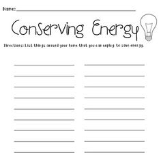 Energy Conservation Graphic Organizer Worksheet | Graphic ...