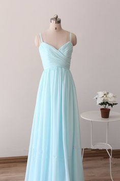 Pretty Light Blue Straps Long Prom Dresses, Light Blue Bridesmaid Dresses, Long Formal Dresses,#prom