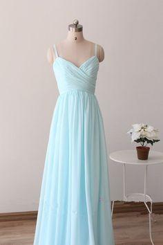 Pretty Light Blue Straps Long Prom Dresses, Light Blue Bridesmaid Dresses, Long Formal Dresses,#prom