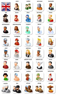 EwR.Vocabulary #English - Poster: Characters and jobs