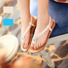 Women's Synthetic Leather Peep Toe Flat T-Strap Sandal Shoes