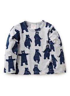 cotton/elastane long sleeve tee with all over dancing bears print