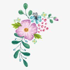 Exquisite color flower design vector material, Hand-painted Flowers, Flower Illustration, Colored Flowers PNG and Vector Flower Design Vector, Flower Designs, Art Floral, Flower Frame, Flower Art, Watercolor Flowers, Watercolor Paintings, Fleur Design, Illustration Blume