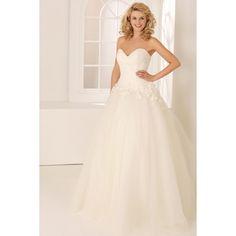 Remarkable Strapless Sweetheart Neckline Exquisitely Appliqued Tulle Wedding Dress - Jer Wedding