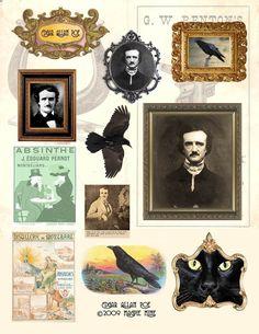 Feuille de Collage numérique de Poe téléchargement immédiat