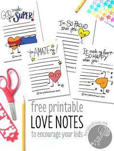 PRINTABLE Love & Encouragement lunch box notes for school or home: Marydean Draws