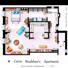Carrie Bradshaw's apartment - love this!